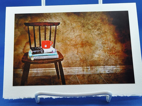 Cup of tea and books on chair - SpecialTea Cards