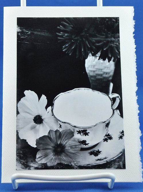 Delicate cup and petals in black and white - SpecialTea Cards