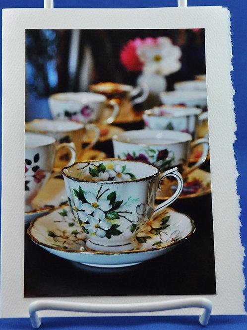 Pretty tea cups in a row - SpecialTea Cards
