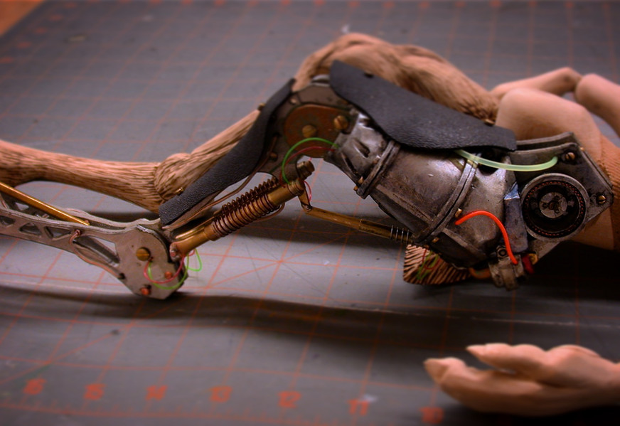 Detail of Aloysius' mechanical leg, Basswood, plastic, epoxy, brass, copper