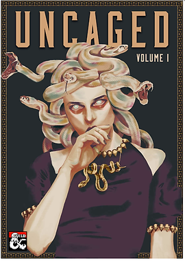 Cover of Uncaged volume 1 featuring a fashionable Medusa
