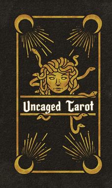 A deck of cards featuring a Medusa head. Text reads Uncaged Tarot