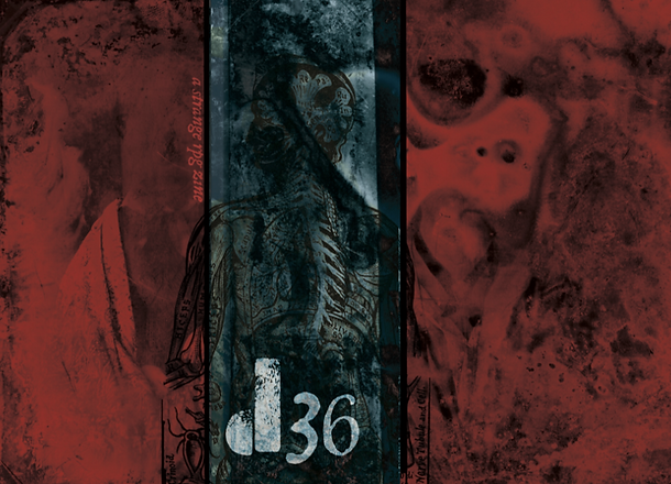 d36 Cover featuring swirling read and black ink and the outline of an anatomical drawing of a skelet