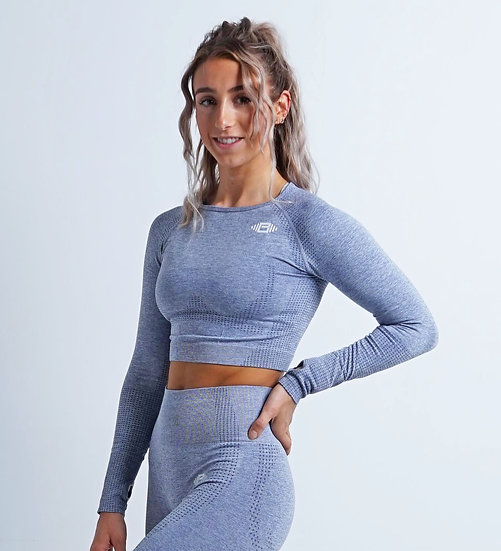 BuzzPhysique Roma Seamless Long Sleeve Crop Top - Grey