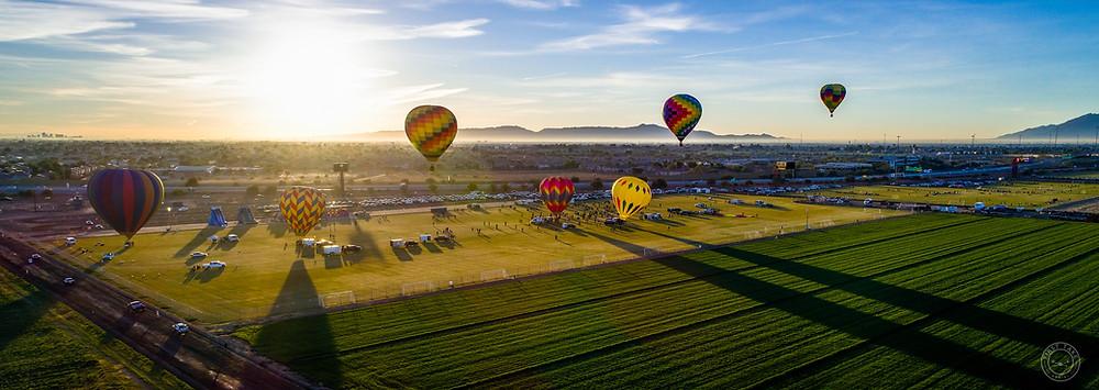 phoenix, hot air balloons, sunrise