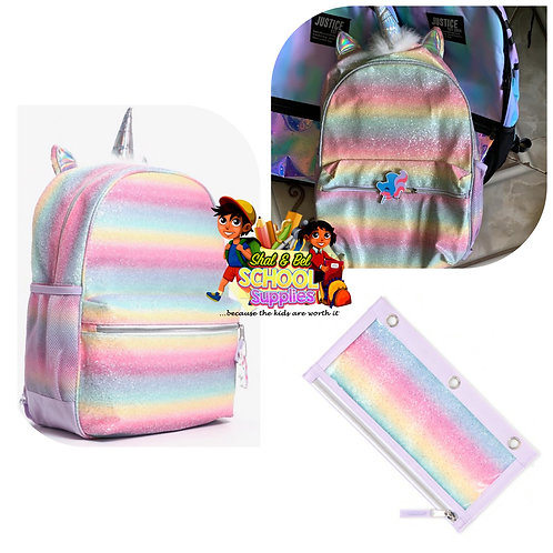 Unicorn Backpack w/ matching pencil case