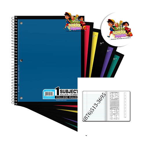 1 subject notebook (4 pack)