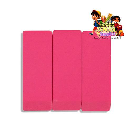 3 pack pink eraser