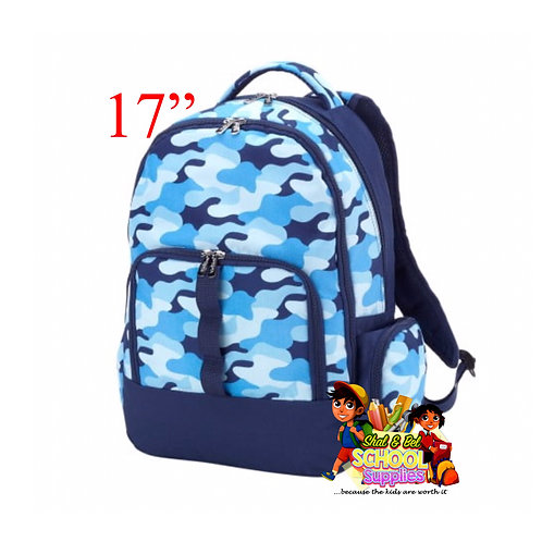 "17"" blue camo backpack and lunch bag"