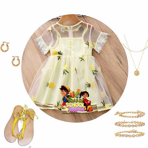 Yellow mesh pineapple dress