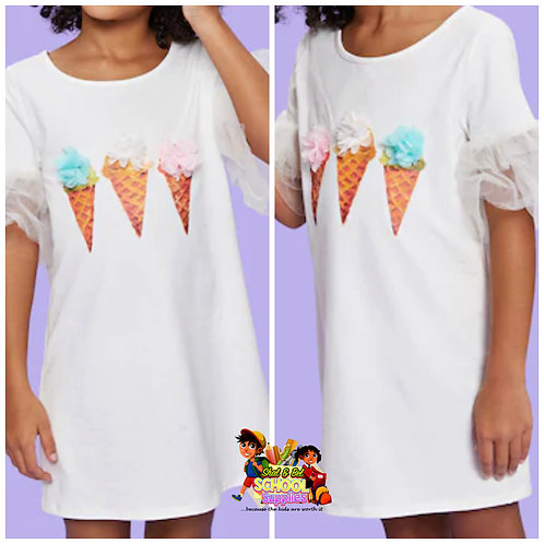 Girls ice cream puff sleeves dress
