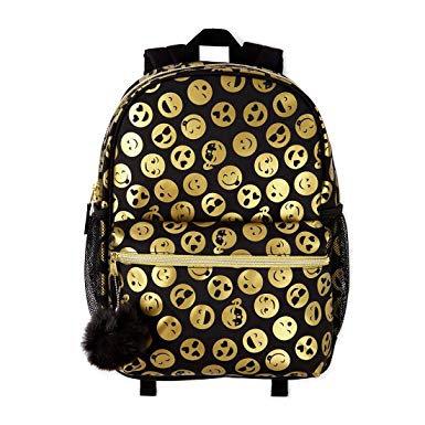 Black/Gold emoji backpack set