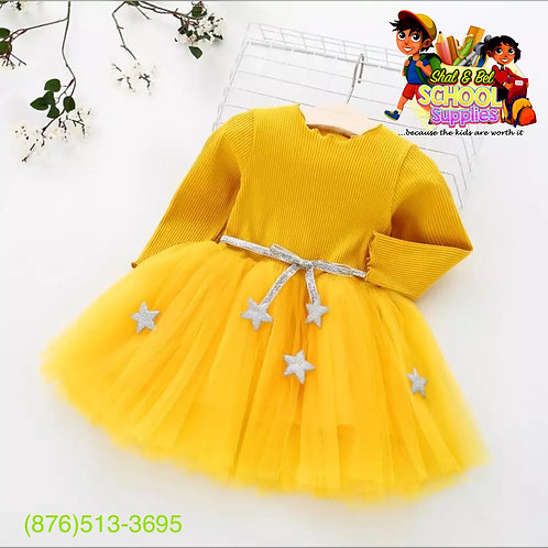 Yellow long sleeves tulle dress (belt)