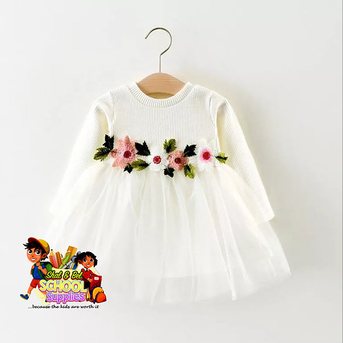 White floral waist band dress