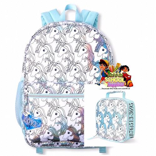 Unicorn backpack set