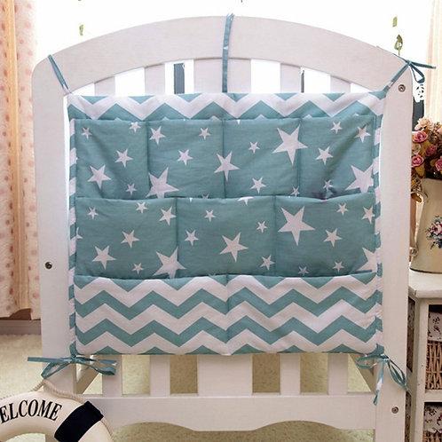Grey Cotton Baby Bed Hanging Storage Bag