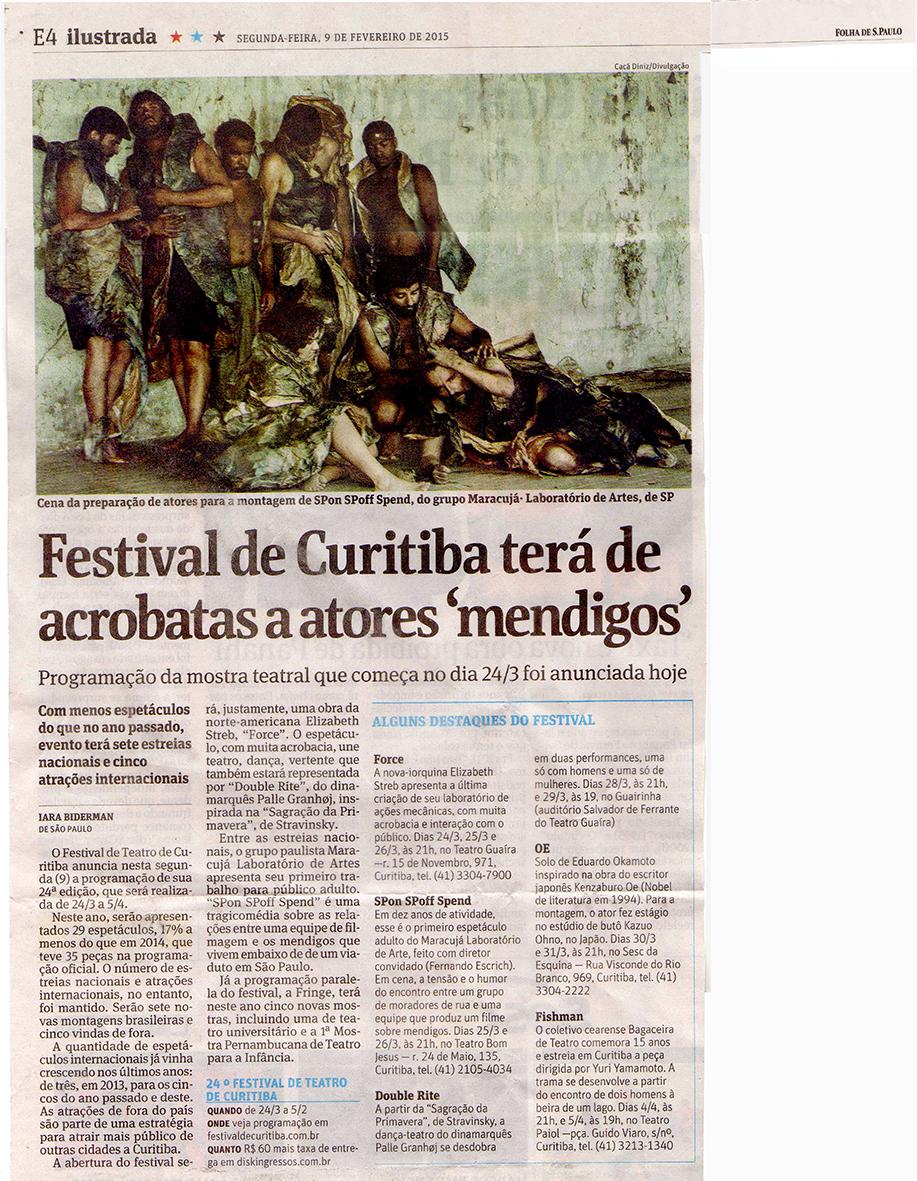 Folha de SP, Ilustrada, 09/02/2015