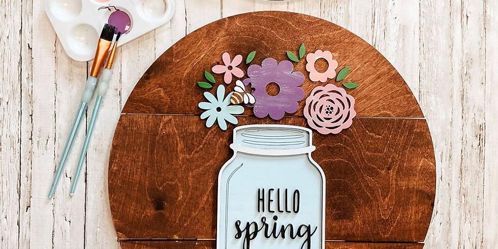 Hello Spring 3D Sign