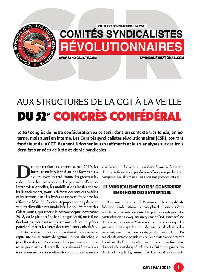 Analyse 52ème congrès CGT par les comités syndicalistes révolutionnaires (CSR)