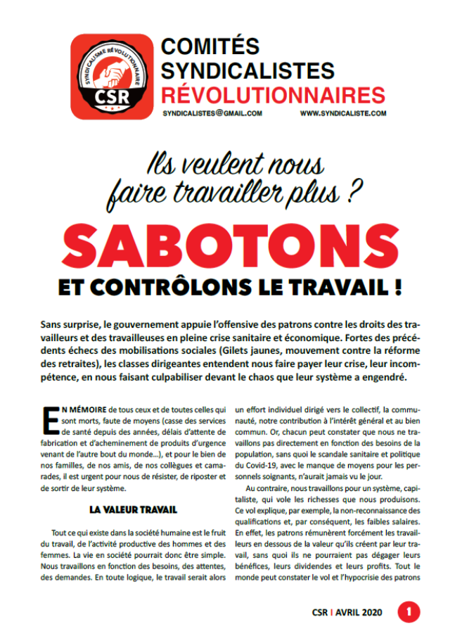 Sabotons et contrôlons le travail - Comités syndicalistes révolutionnaires