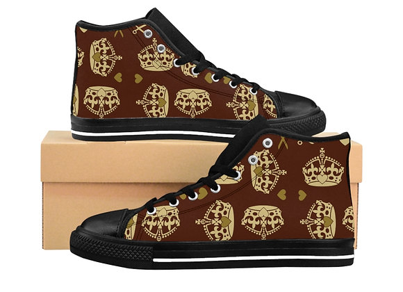 """Majestic Brown"" Women's High-top Sneakers"
