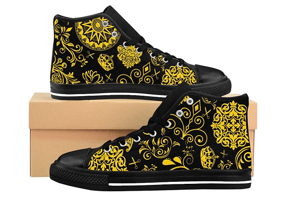 Women's Black and Yellow Paisley High-top Sneakers