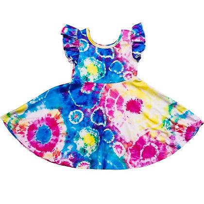 Tie Dye Rainbow Ruffle Dress