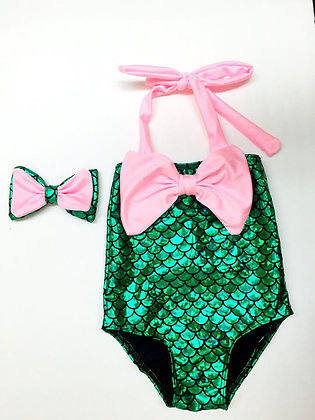 Pink Bow Mermaid Swimsuit 2pc