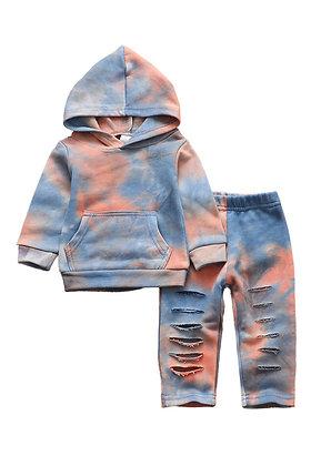Blue Coral Tie Dye Hoodie