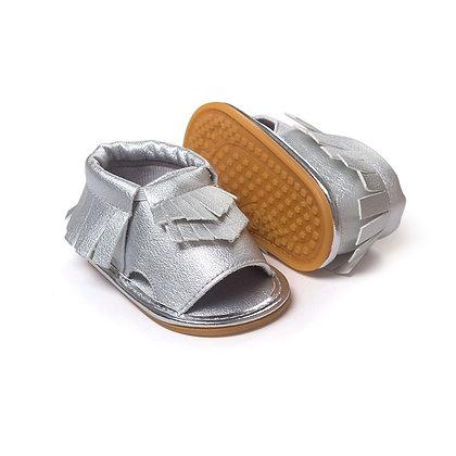 Silver Moccasin Sandal