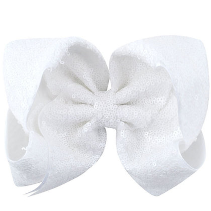 White Sequins Bow