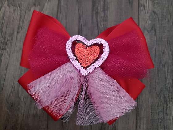Glitter Red Heart Bow