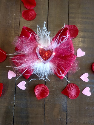 Big Tulle Heart Bow