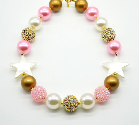 Gold & Pink Star Necklace