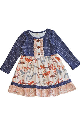 Blue Horse Ruffle Dress