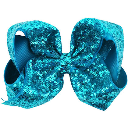 Sea Blue  Sequins Bow