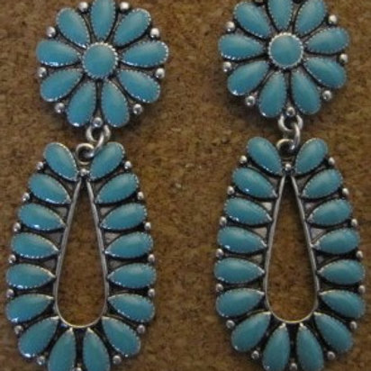 Amazing Turquoise Floral Earrings