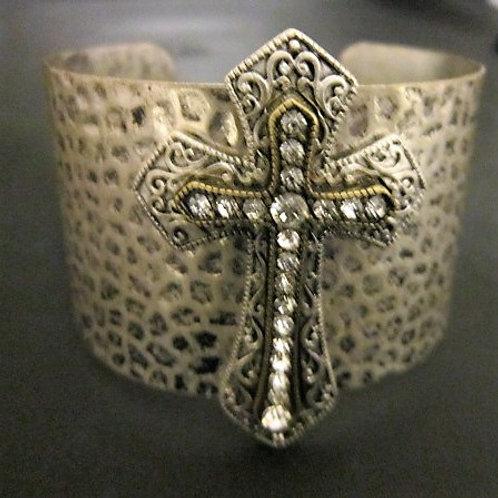 Hammered Style Silver-Tone Bangle Bracelet