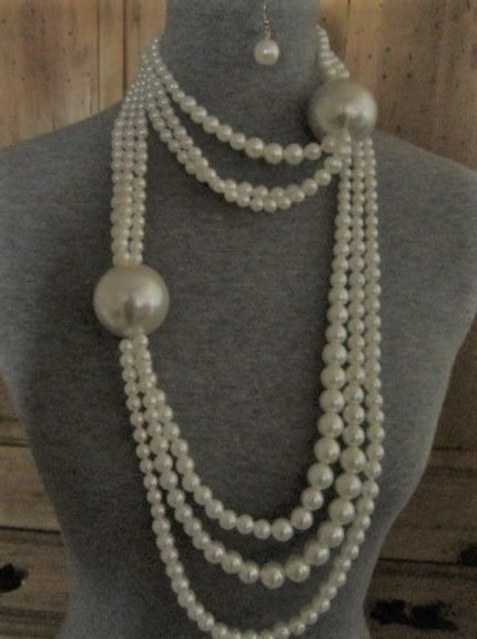 Long Multi-Strand w/ Two Large Synthetic Pearls