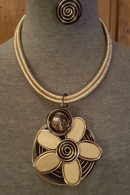 Large Unique Coiled Flower Necklace set