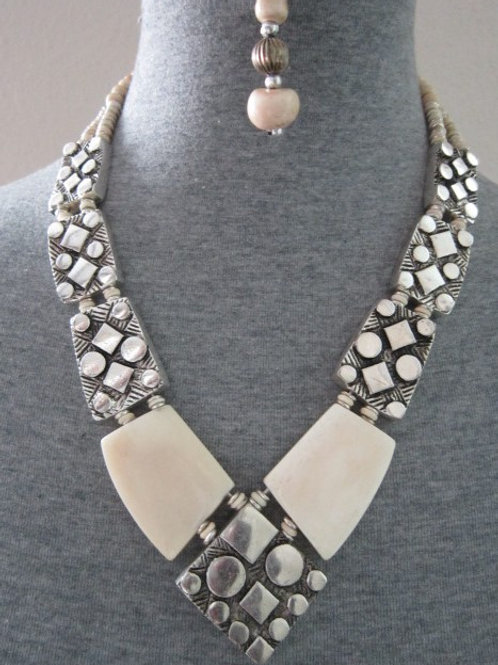 V Shaped Alloy Metal Necklace Sets w/ Bone or Wood Accents