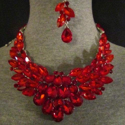 Elegant Red Glass Necklace & Earrings Set