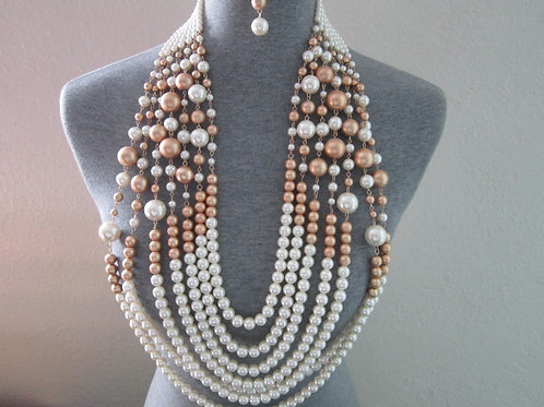 Inspiring Multi-Strand Faux Pearl Necklace Set