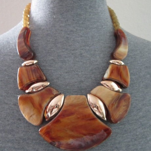 Tribal Look Marble Resin and Metal Necklace Set