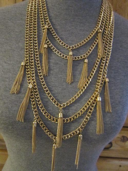 Multi-chain & Earring set w/ hanging tassels.