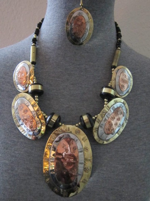 Gold, Silver, & Copper Beaded Necklace Set