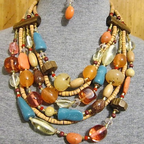 Natural Coco Beaded Layered Necklace Set