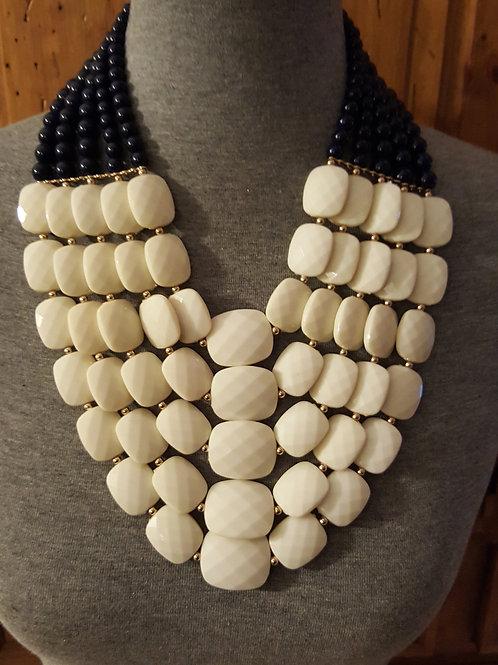 Navy & Ivory Beaded Necklace Set