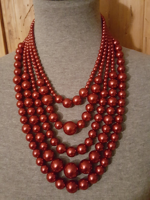 Red Five Strand Faux Pearl Necklace Set