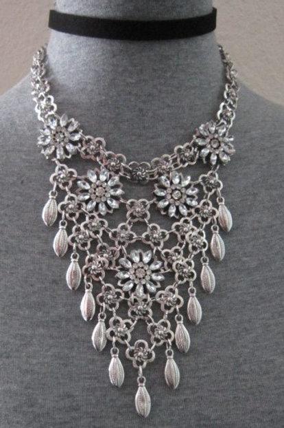 Striking Suede Choker & Crystal Flower Statement Necklace Set